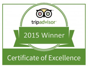 TripAdvisor 2015 Winner - Certificate of Excellence